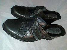 Womens CLARKS Artisan Collection tall slide Leather Brown SANDAL SHOES Heel