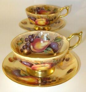 2 Vintage Aynsley Orchard Gold Cups & Saucers  Signed N Brunt Excellent