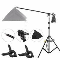 Photo Studio Boom Arm Top Light Stand w/ Grip Head +2m Tripod & Background Clamp