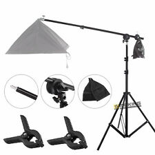 Photo Studio Boom Arm Top Light Stand w/ Grip Head +2m Tripod & Background Clamp
