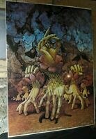 Original VTG Small Voice of Trumpets Surreal 1976 Poster Patrick Woodroffe