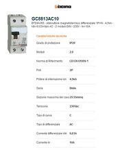 Bticino GC8813AC10 BTDIN Interruttore Magnetotermico Differenziale 1P+N, 4,5kA,