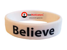 BELIEVE (White) Wristband Motivational Inspirational Ionic Tourmaline Neg Ion
