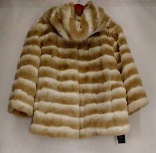 Pamela Mccoy Plus Size 1X Faux Fur Chubby Jacket w/ Matching Snood Beige New