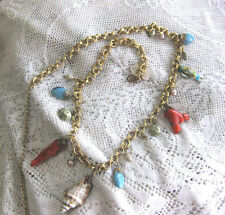 Gold tone belt/ necklace w real corals sea shells cloisone fish & faux turquoise
