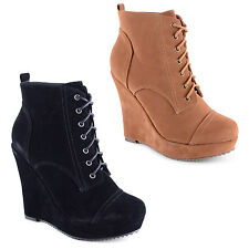 Unbranded Faux Suede Wedge Lace Up Boots for Women