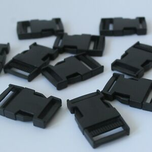 Pack 10 X 25mm Black Plastic Side Release Buckle Clip Fastening RS