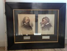 ALFRED LORD TENNYSON and THOMAS CARLYLE Signatures - Mounted with Pictures.