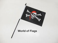 "RED BANDANA PIRATE SMALL HAND WAVING FLAG 6"" x 4"" Craft Table Desk Top Display"