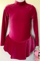 GK LgSLV PEONY VELVET GIRLS SMALL TURTLENECK ICE FIGURE SKATE DRESS CS NWT!