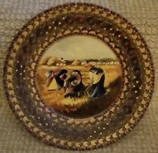 "Wooden Plate 9"" Carved Hand Painted Small Round Wooden Decoration Wall Plate"