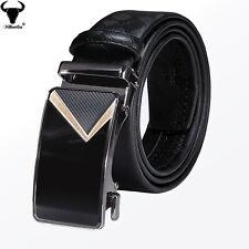 Formal Automatic Buckle Mens Black Leather Belts Adjustable Business Waist Strap