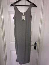 Women's H&M MAMA Grey Ribbed Maxi Dress Sz M 12 BNWT NEW