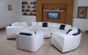 Wohnlandschaft Rund Ecksofa Leder Runde Couch Garnitur Sofa Couch Ecke + Sessel