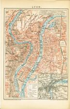 Stadtplan von LYON 1894 Original-Graphik