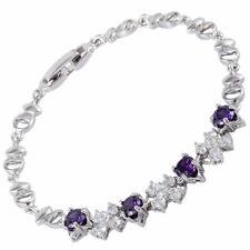 Schmuck Jewelry 18K White Gold Plated CZ Purple Amethyst Tennis Bracelet