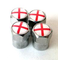 x4 St George Cross ENGLAND Flag Dust Caps 3D Metal Chrome Valve MINI Rover MGF S