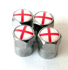 ENGLAND x4 George Cross Flag Dust Caps 3D Metal Chrome For MINI Rover MGF Jaguar