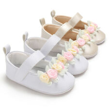 Newborn Baby Girl Pram Shoes Anti-Slip Princess Floral Dress Shoes 3 6 9 12 18 M