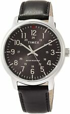 Classic Timex TW2R85500, Men's Black Leather Watch 43MM 30 Meter Water Resistant