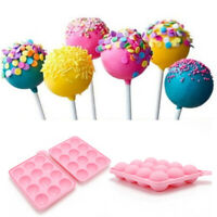 12Units Holes Silicone Round Ball Cake Molds DIY Lollipop Tray Moulds Set Baking