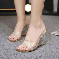 Open Toe Clear Transparent Sandals Slipper Womens Wedge High Heel Shoes Slip On