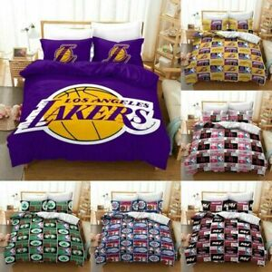UK 3D Basketball Teams Sets Duvet Quilt Bedding Cover Pillowcase Set ~/