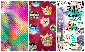 GOOD KITTY by 3 wishes fabric - 100% cotton fabric - CATS, TEXT, GEOMETRIC