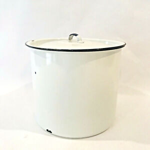 Distressed White Enameled Metal Tin Canister w Lid Rustic Farmhouse