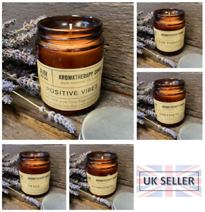 Scented Aromatherapy Natural Soy Wax Candle Vegan Essential Oils Glass Multi-Buy