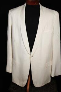 VINTAGE 1950'S AFTER SIX CREAM GABARDINE SHAWL COLLAR TUXEDO JACKET SIZE 44 LONG