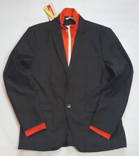 ZARA MAN BLACK TWO BUTTON BLAZER WITH REMOVABLE RED LINING SIZE USA 40 EUR 50