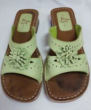 Life Stride Maxine Sandals Slides Lime Green Flowers Size 7 Leather Square Heel