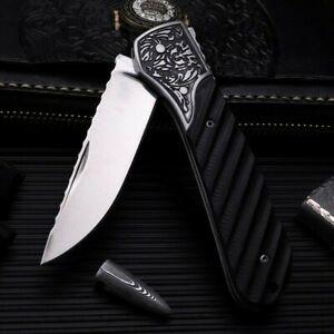 Straightback Serrated Folding Knife Pocket Hunting Survival Combat Chrome Steel