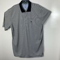 TOMMY HILFIGER Men's X-Large Tall Black/White Striped Golf Polo Shirt EUC (C37)
