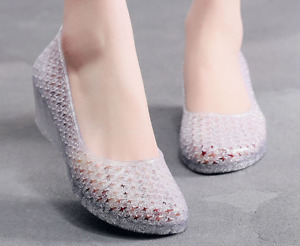 Women's Summer Pumps Jelly Wedge Heels Sandal Princess Glitter Shoes Casual Flat