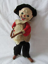 "Clown Doll Folk Art Figure RARE 10"" Tall Vintage HandCrafted Multi-Materials"