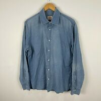 Brooks Brothers Mens Button Up Shirt Large Blue Chambray Long Sleeve Collared