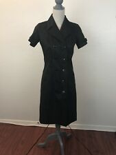 9ff12160482 ISAAC MIZRAHI Black Silk Double Breasted Attractive Wrap Trench Coat Dress  Sz 2