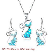 Trendy Women Elegant Gift Cat Pendant Earrings Opal Necklace Chain Jewelry