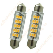 2pcs Warm White 43mm 211-2 212-2 15-SMD-3020 Dome Festoon LED Bulbs Door Lights