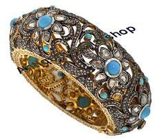 11.92ct Anniversary Turquoise Polki Bracelet New Repro Antique Rose Cut Diamond