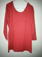 Pampleouse ruby red t-shirt tunic M plus (12/14) long sleeve . Used