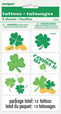 ST PATRICK'S DAY TATTOOS 12 PACK SHAMROCK TATTOO SHEET FOR ST PATRICK'S DAY