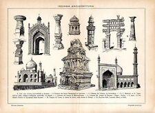 Stampa antica INDIA monumenti celebri Tai Mahal 1910 Old print