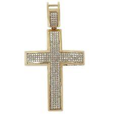 10 Quilates Oro Amarillo 7cm Largo Colgante de Cruz Diamante Redondo Placa
