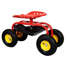 Rolling Garden Cart Work Seat With Heavy Duty Tool Tray Durable Planting Red