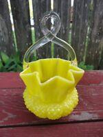 Vintage Victorian Bright Yellow Art Glass Blown Basket