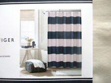 NEW Tommy Hilfiger Fabric Shower Curtain CABANA STRIPE SEERSUCKER Blue & White