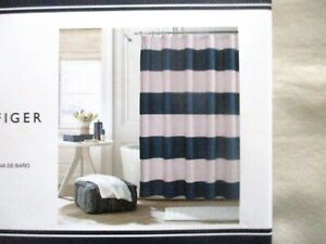 NEW Tommy Hilfiger Fabric Shower Curtain CABANA STRIPE SEERSUCKER Blue & White